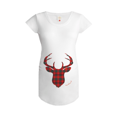 Gooseberry Pink tartan deer maternity top in white organic cotton