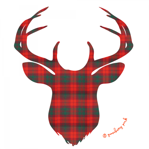 Tartan deer design on white background by Gooseberry Pink