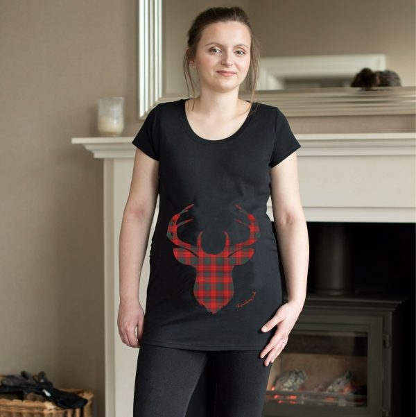 Girl wearing black maternity top with tartan deer design by Gooseberry Pink