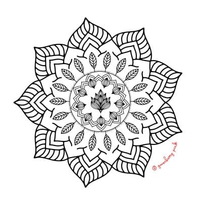 Mandala design on white background by Gooseberry Pink