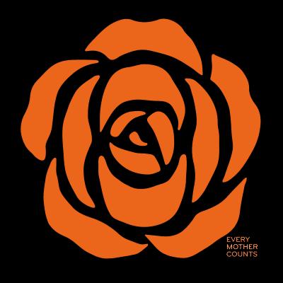 Every Mother Counts Orange Rose logo on black background