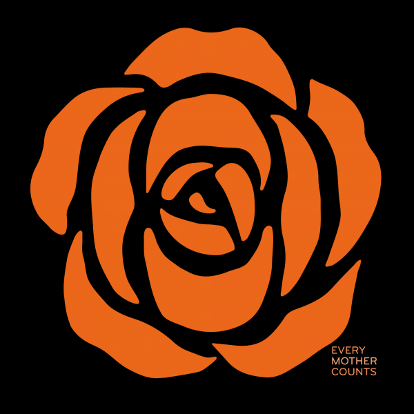 Every Mother Counts Orange Rose logo on black background