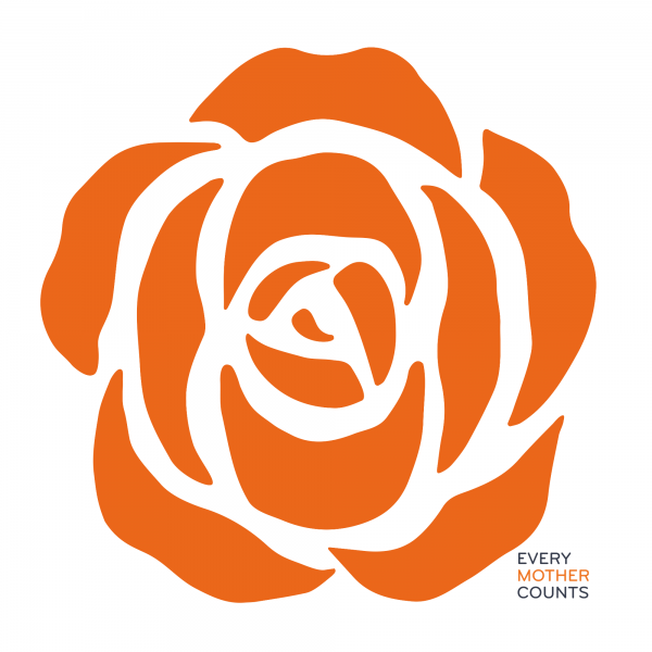 Every mother counts orange rose logo on white background