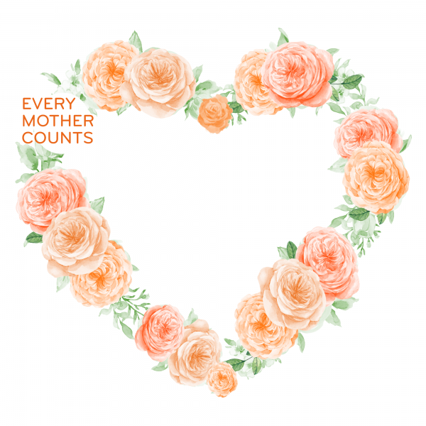 Every Mother Counts orange rose heart logo on white background by Gooseberry Pink