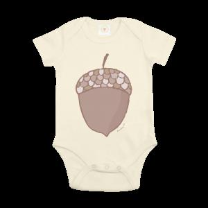 Gooseberry Pink acorn baby bodysuit in ecru organic cotton