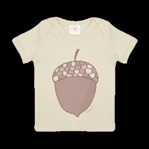 Gooseberry Pink acorn baby t-shirt in ecru organic cotton