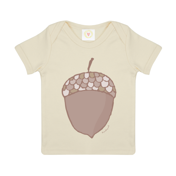 Gooseberry Pink acorn baby t-shirt in ecru organic cotton