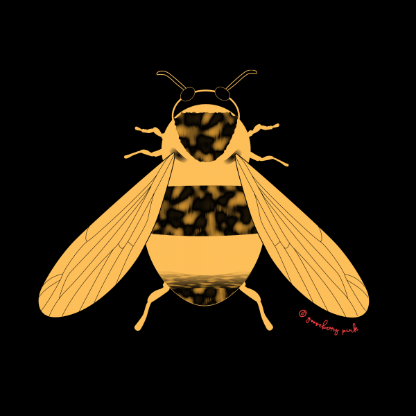 bee design on black background by Gooseberry Pink