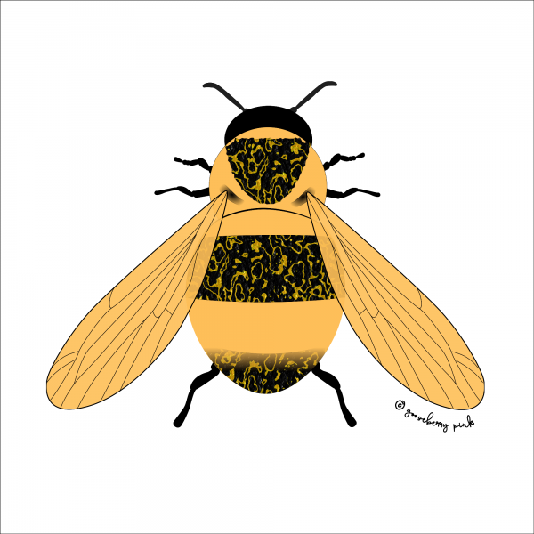 Bee design on white background by Gooseberry Pink