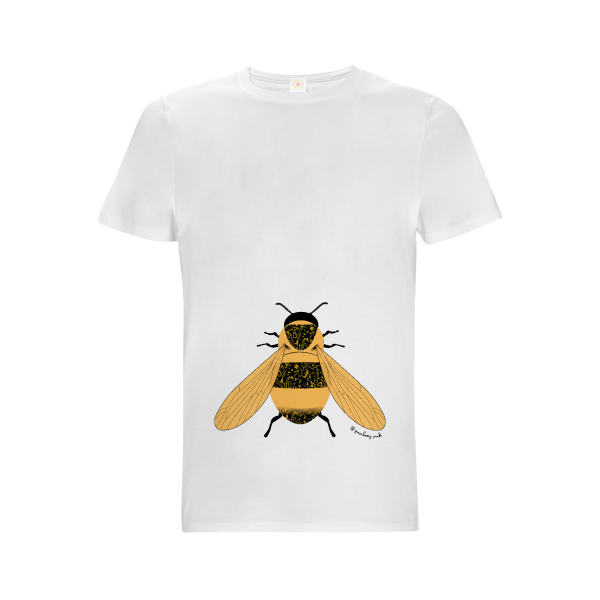 Gooseberry Pink bee relaxed fit top in white organic cotton