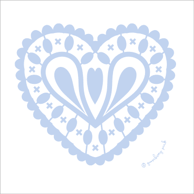 baby blue heart design on white background by Gooseberry Pink