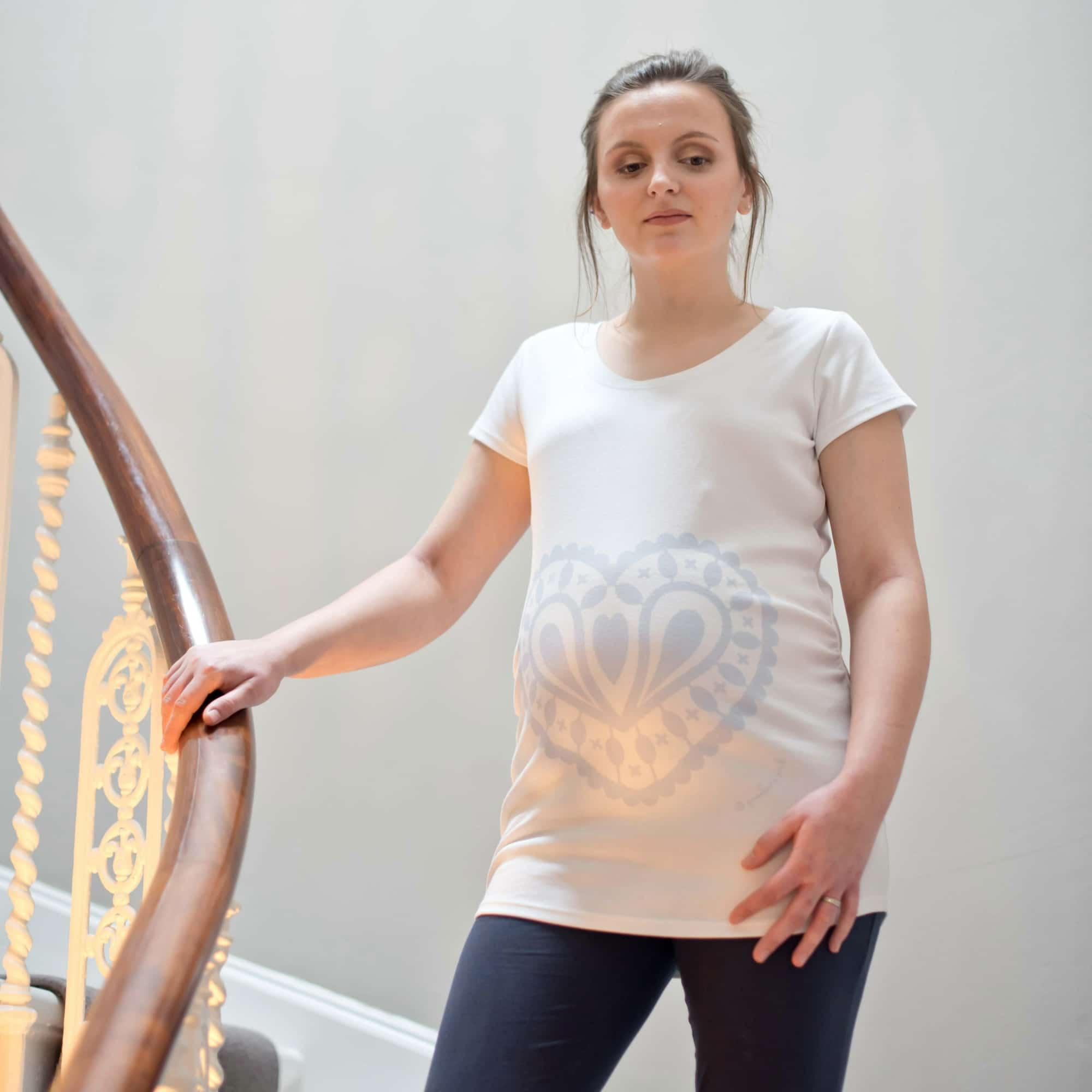13d12c641af0c Girl wearing blue heart maternity top made in white organic cotton