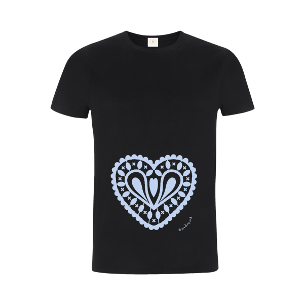 Gooseberry Pink baby blue heart relaxed fit top in black organic cotton