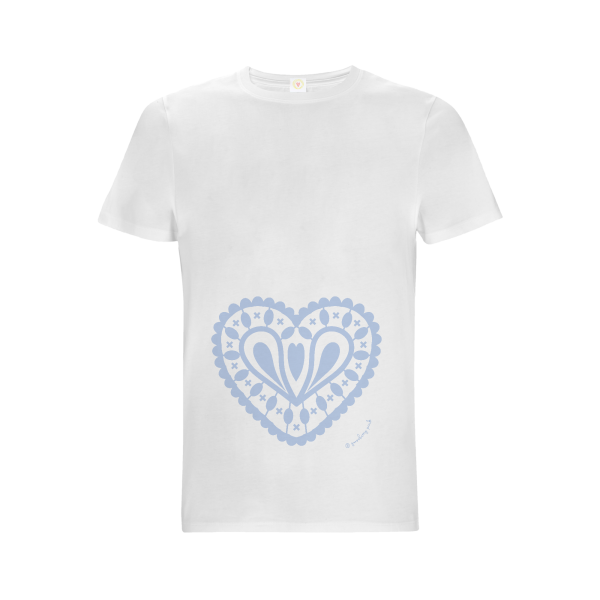 Gooseberry Pink baby blue heart relaxed fit top in white organic cotton