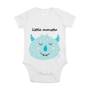 Gooseberry Pink blue monster baby bodysuit in white organic cotton