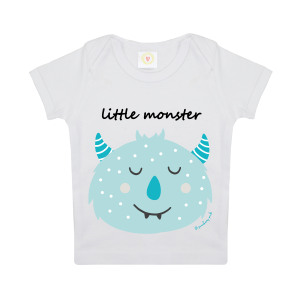 Gooseberry Pink Blue Monster Baby T-Shirt in white organic cotton