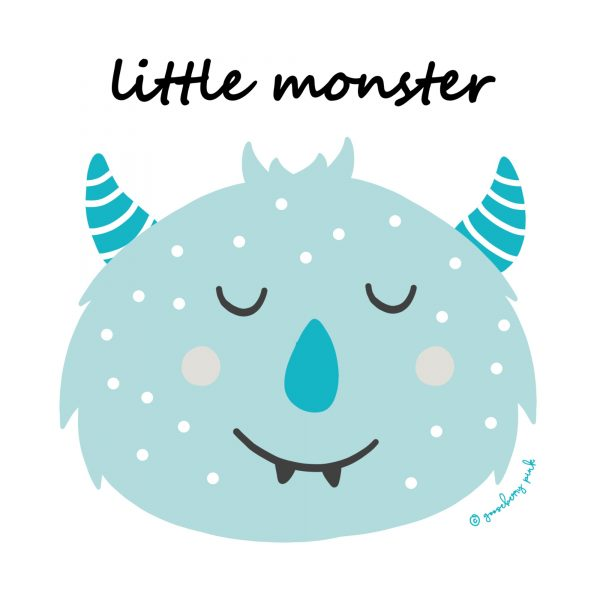 blue monster design on white background by Gooseberry Pink