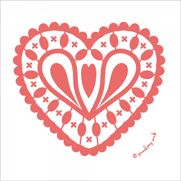 blush pink heart design on white background by Gooseberry Pink