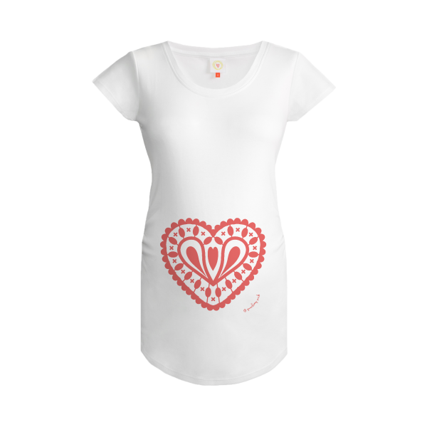Gooseberry Pink blush pink heart maternity top in white organic cotton