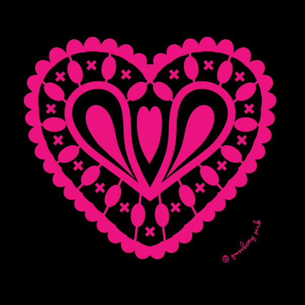 hot pink heart design on black background by Gooseberry Pink