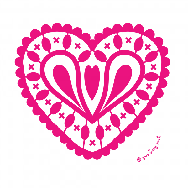hot pink heart design on white background by Gooseberry Pink