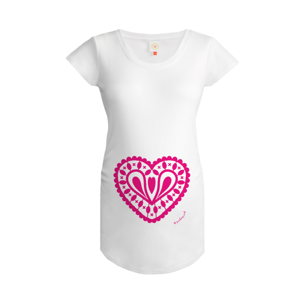 Gooseberry Pink hot pink heart maternity top in white organic cotton