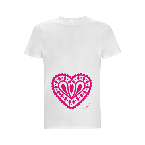 Gooseberry Pink hot pink heart relaxed fit top in white organic cotton