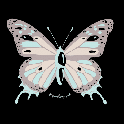 Butterfly design on black background by Gooseberry Pink