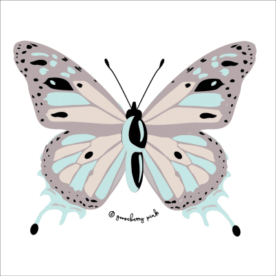 Butterfly design on white background by Gooseberry Pink