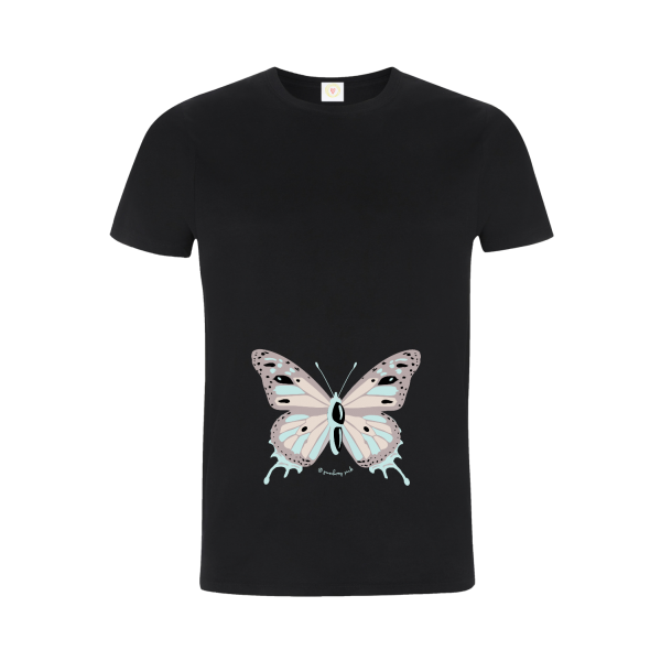 Gooseberry Pink butterfly relaxed fit top in black organic cotton