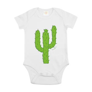 Gooseberry Pink cactus baby bodysuit in white organic cotton