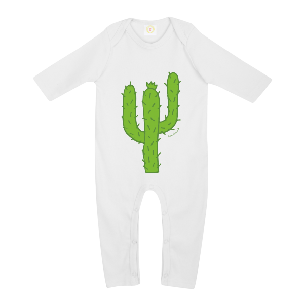Gooseberry Pink Cactus baby sleepsuit in white organic cotton