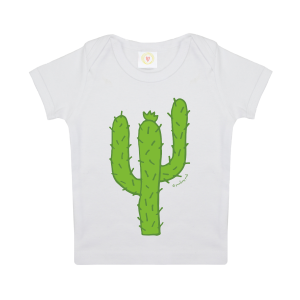 Gooseberry Pink cactus baby t-shirt in white organic cotton