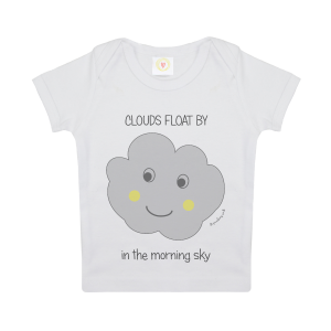 Gooseberry Pink cloud baby t-shirt in white organic cotton