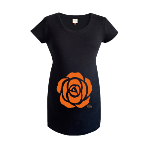 Every Mother Counts Orange Rose logo on black maternity top by Gooseberry Pink