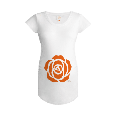 Every mother counts orange rose logo on white gooseberry pink maternity top