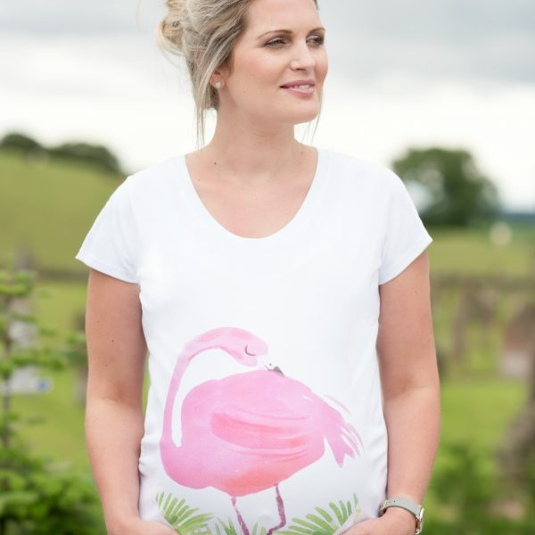 Girl wearing flamingo maternity top in white organic cotton