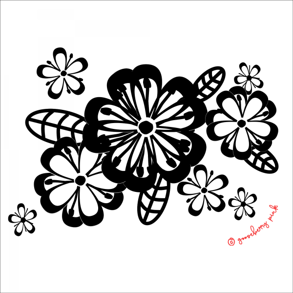 black floral design on white background by Gooseberry Pink