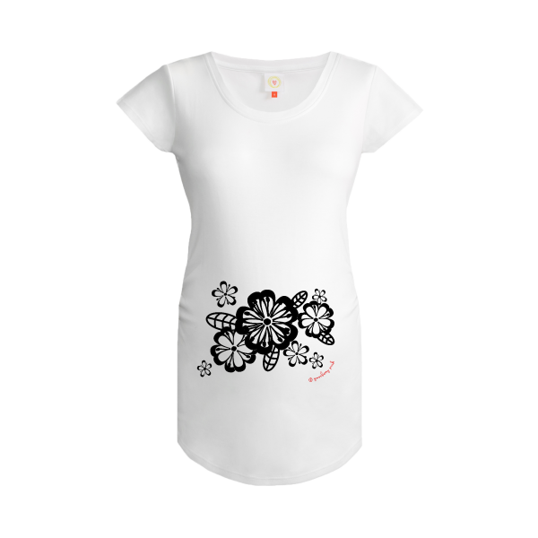 Gooseberry Pink floral maternity top in white organic cotton