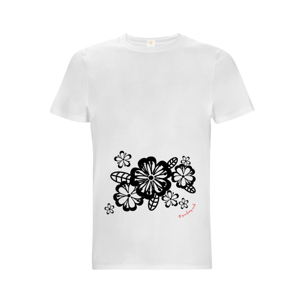 Gooseberry Pink floral relaxed fit top in white organic cotton