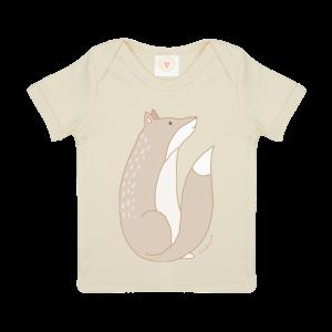 Gooseberry Pink fox baby t-shirt in ecru organic cotton