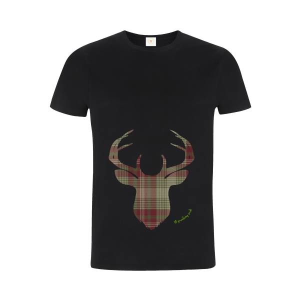 Gooseberry Pink green plaid deer relaxed fit top in black organic cotton
