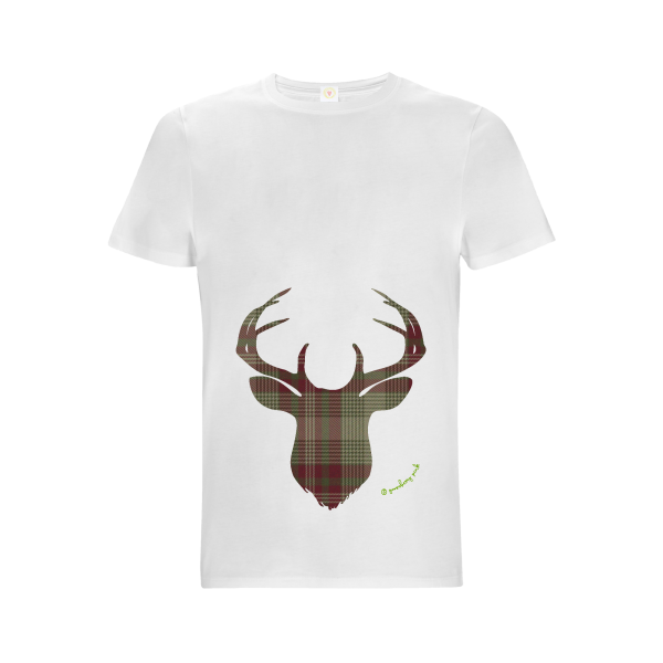 Gooseberry Pink green plaid deer relaxed fit top in white organic cotton