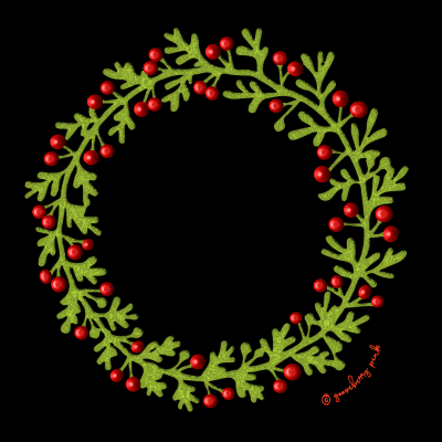 Holly wreath design on black background by Gooseberry Pink
