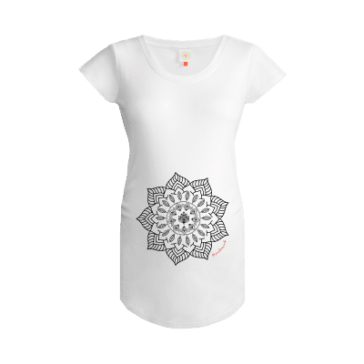 Gooseberry Pink Mandala maternity top in white organic cotton