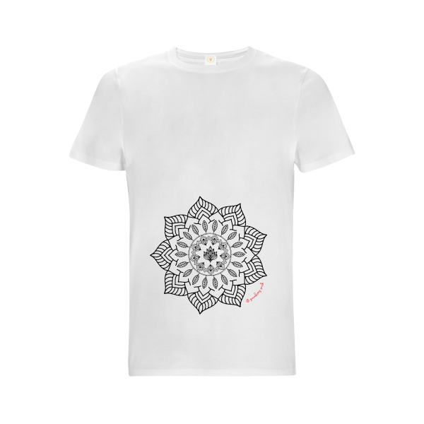 Gooseberry Pink mandala relaxed fit top in white organic cotton