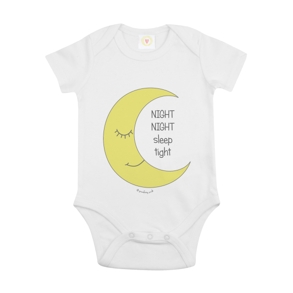 Gooseberry Pink moon baby bodysuit in white organic cotton