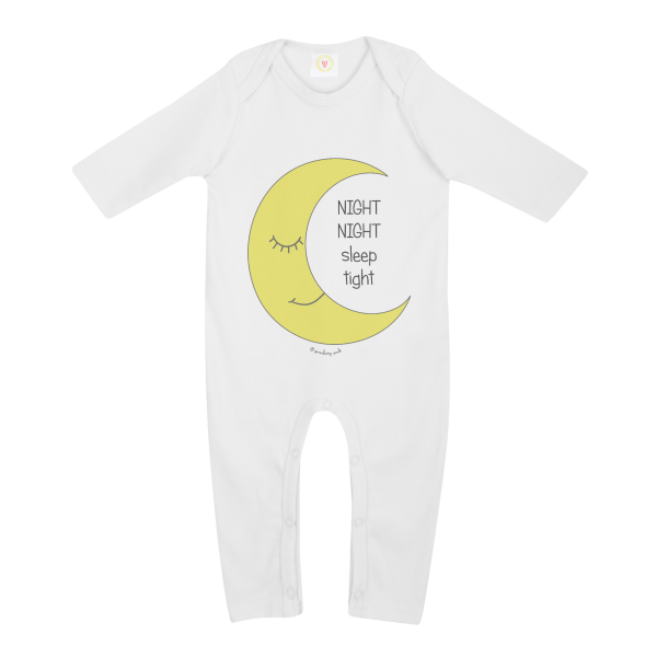 Gooseberry Pink moon baby sleepsuit in white organic cotton