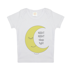 Gooseberry Pink moon baby t-shirt in whte organic cotton