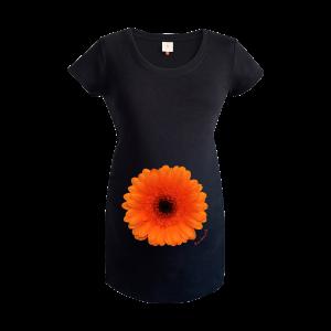 Gooseberry Pink orange gerbera maternity top in black organic cotton